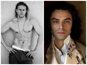 Example: Charlie Hunnam as Lucivar (sans wings) and Aidan Turner as Daemon.
