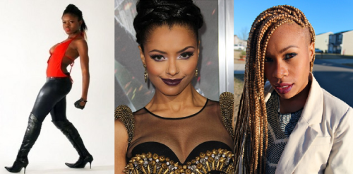 left is inspiration, middle is Kat Graham, and right is hairspiration for Azalee